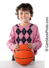 Handsome boy with basket ball isolated over white