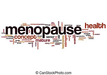 menopausia, palabra, nube,