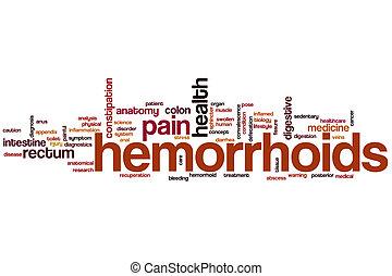hémorroïdes, mot, nuage,