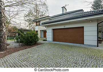 Modern detached house with garage - Close-up of modern...