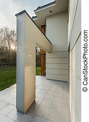 Contemporary single-family home - Vertical view of...