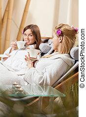 bebida, té, en, balneario, habitación,