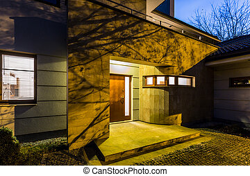External view detached house at night