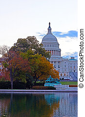 US Capitol building at dawn in autumn colors
