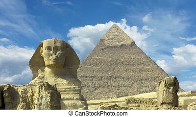 Clouds over great pyramid and sphinx in Egypt - zoom in...