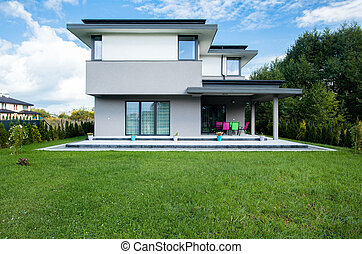 Modern house - Photo of the new modern house with big garden
