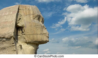 Sphinx head and clouds at Giza Cairo in Egypt - timelapse