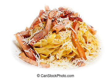 Pasta Carbonara with bacon and cheese - Porion of Pasta...