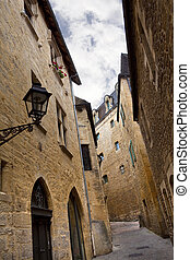 Sarlat village, France - Old streets in the city of Sarlat,...