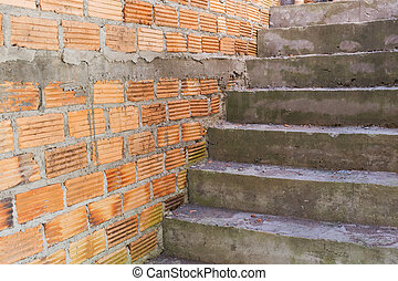 construction house of residential with bricks wall and...