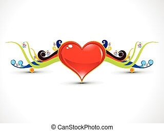 abstract artistic heart with colorful floral vector...