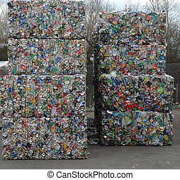 Recycled Cans 2 - Bales of cans waiting to be recycled at...