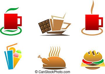 Fast food symbols - Color fast food symbols for design...