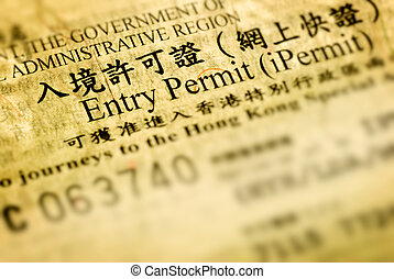 entry permit of Hong Kong - It is a close-up entry permit...