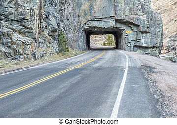 highway tunnel in Rocky Mountains - Poudre Canyon tunnel on...