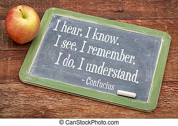 Confucius quote on balckboard