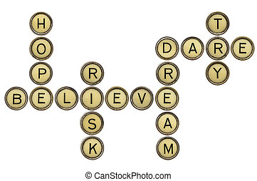motivational crossword - dream, hope, believe, risk, dare,...