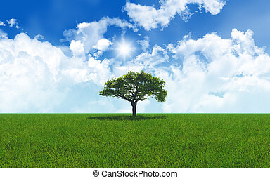 Oak tree in grassy landscape 2701 - 3D render of an oak tree...