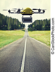 drone at work - flying drone and lonely road