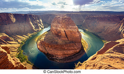 Horseshoe Bend in Page, Arizona - Horseshoe Bend on a sunny...
