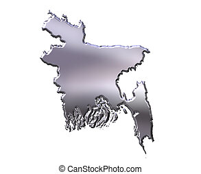 Bangladesh 3D Silver Map