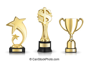 award trophies - Cup trophy, star award and dollar sign...