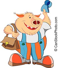 Cheerful pig with a cap and a bag