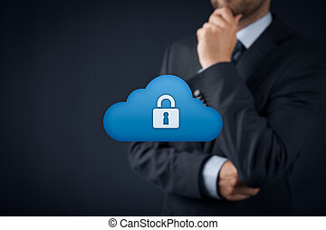 Cloud data security - Cloud storage security concept. Safety...