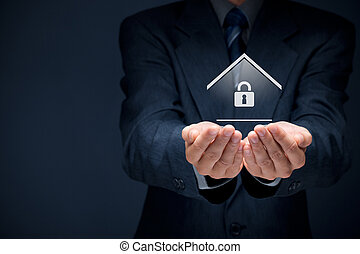 Property security and insurance concept. Offering gesture of...
