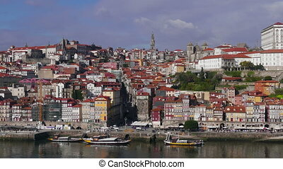 View from Cabin Cableway of Historical Centre Porto,...