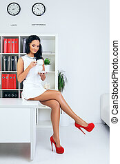 Sexy Business Woman - sexy provocative businesswoman drink...
