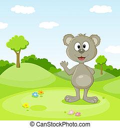 Niedlicher Teddy auf einer Wiese
