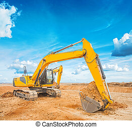 exkavator on construction site and sky background