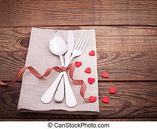Valentines dinner on wooden background