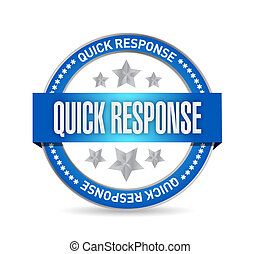 quick response seal illustration design over a white...
