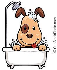 Dog - Vector illustration of Cartoon Dog Bathing