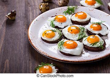 codorniz, huevo, canapes, ,