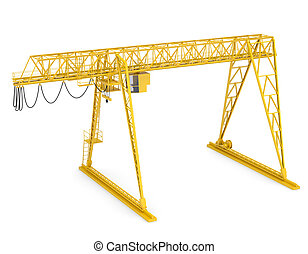 Yellow gantry bridge crane, half-turn, isolated on white...
