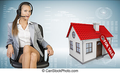 Businesswoman in headset, model house with tag for sale beside
