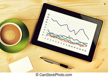 Business Chart Analysis on Tablet Computer - Business Chart...