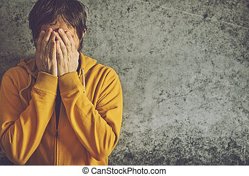 Adult Man Crying - Upset Depressive Adult Man Wearing Yellow...