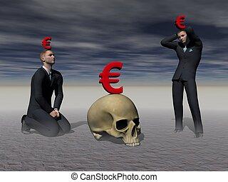 men panics in front of the crisis - 3d render