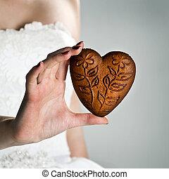 corazón, forma, mujer, joven, Manos