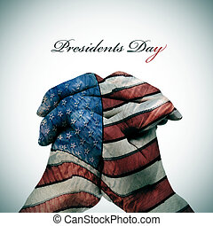 text Presidents Day and man hands patterned with the flag of...