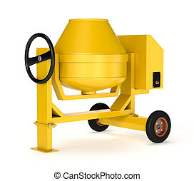 cement mixer - front view of a cement mixer on white...