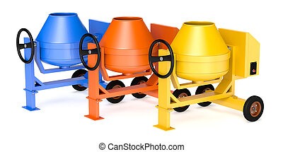 cement mixer - three cement mixers on different colors (d3d...