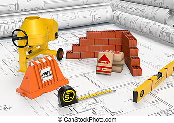 building tools - building blueprints with a cement mixer,...