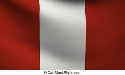 peru flag waving gently in wind