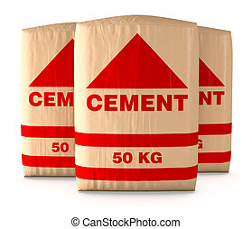 bags of cement - front view of bags of cement on white...