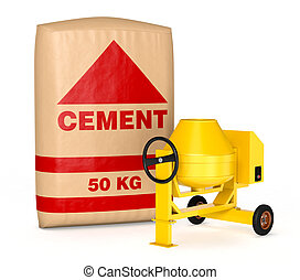 cement mixer with a big bag of cement (3d render)